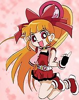TAGS: akatsutsumi momoko, blossom, fingerless gloves, hair ribbon, hyper blossom, jewelry, lowres, orange hair, ponytail, powerpuff girls z, red eyes, vertical.