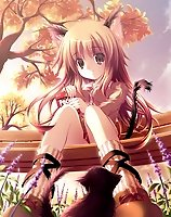 TAGS: animal ears, autumn, cat, cat ears, duplicate, long hair, original, pocky, tail, vertical, yamamoto nori.