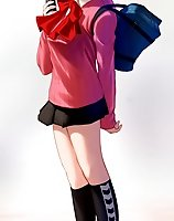 TAGS: bag, black socks, brown eyes, brown hair, cardigan, cellphone, choker, highres, loafers, miniskirt, persona, persona 3, phone, plastic girl, purse, ribbon, shoes, short hair, skirt, socks, takeba yukari, uni, vertical.